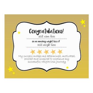 Gold Star Diet Fitness Congratulations Certifcate Postcard