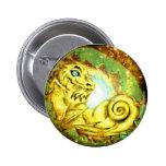 Gold Star Dragon Pinback Buttons