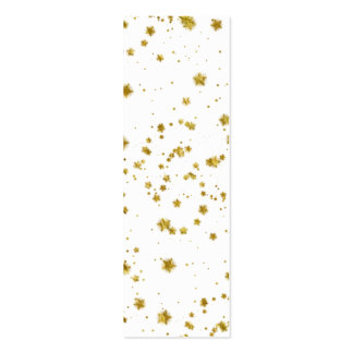 Gold Star Faux Foil Sequin Background Stars Design Double-Sided Mini Business Cards (Pack Of 20)