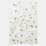Gold Star Faux Foil Sequin Background Stars Design Hand Towels
