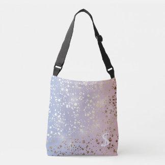 Gold Star Foil Sparkle Rose Quartz Serenity Blue Crossbody Bag