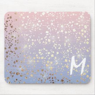 Gold Star Foil Sparkle Rose Quartz Serenity Blue Mouse Pad