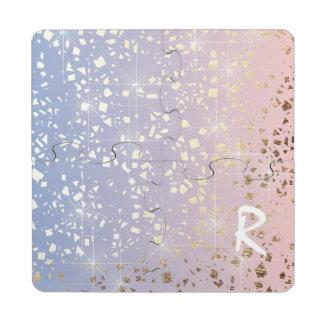 Gold Star Foil Sparkle Rose Quartz Serenity Blue Puzzle Coaster