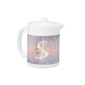 Gold Star Foil Sparkle Rose Quartz Serenity Blue Teapot