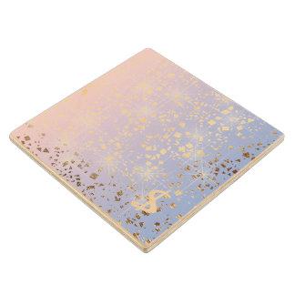 Gold Star Foil Sparkle Rose Quartz Serenity Blue Wood Coaster