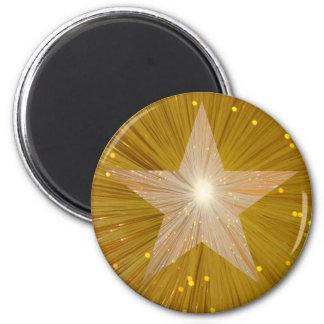 """Gold"" Star fridge magnet round"