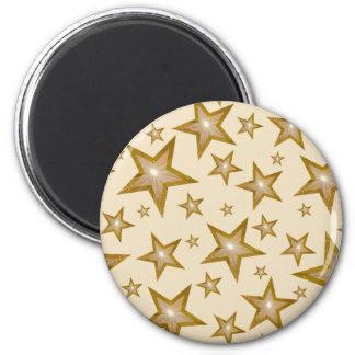Gold Star fridge magnet round cream