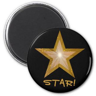Gold Star fridge 'STAR!' magnet round black