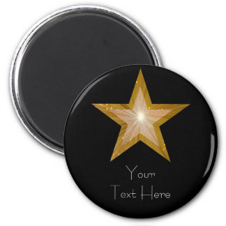 Gold Star fridge 'Your Text' magnet round black