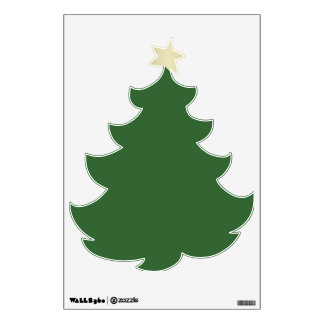 GOLD STAR GREEN CHRISTMAS TREE WALL DECAL