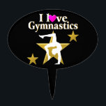 """GOLD STAR GYMNAST CAKE TOPPER<br><div class=""""desc"""">This fabulous Gymnastics Princess will love showing off that she loves Gymnastics with this gorgeous gold star Gymnastics design on Tees and Gifts. This fantastic Gymnastics gift is perfect for Birthdays, Holidays, or any occasion. Your first place Gymnast will be inspired to go for gold with this terrific Gymnastics design...</div>"""