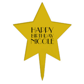 Gold Star Happy Birthday Hollywood Birthday Cake Topper