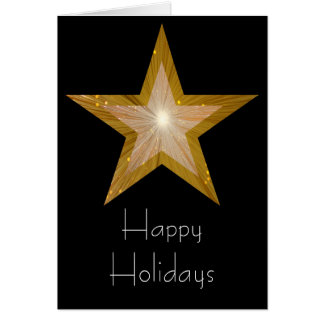 Gold Star 'Happy Holidays' card black vertical