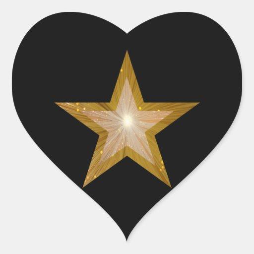 Gold Star heart sticker black