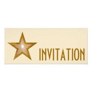Gold Star 'INVITATION' cream long Card
