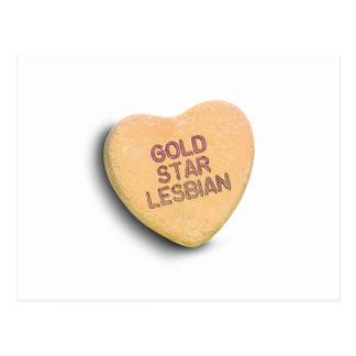 GOLD STAR LESBIAN CANDY POSTCARD
