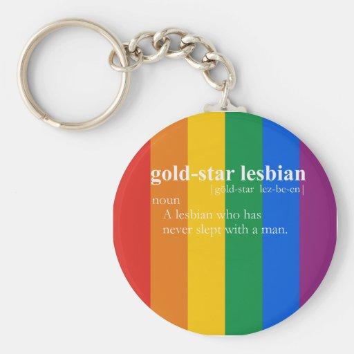 GOLD STAR LESBIAN T-SHIRT / Gay Slang T-shirt Key Chain