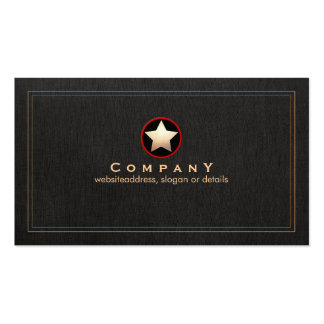 Gold Star Logo Faux Black Linen Groupon Double-Sided Standard Business Cards (Pack Of 100)