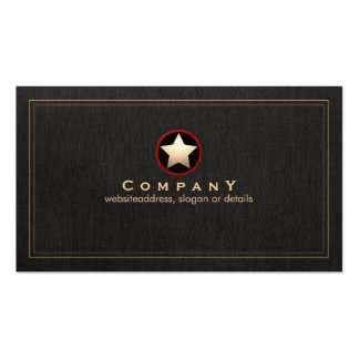 Gold Star Logo Professional Black Double-Sided Standard Business Cards (Pack Of 100)