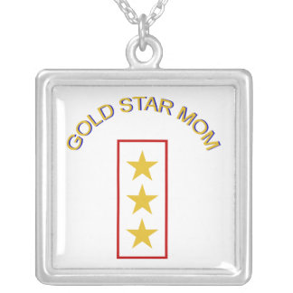 Gold Star Mom 3 Silver Plated Necklace