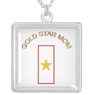 Gold Star Mom Square Pendant Necklace