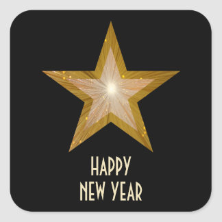 Gold Star 'New Year's Day' square sticker black