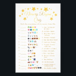 """Gold Star Nursery Rhyme Baby Shower Emoji Game Flyer<br><div class=""""desc"""">Nursery Rhyme Baby Shower Emoji Game Gold Star Card Gold Star Nursery Rhyme Emoji Baby Shower Game A gold star """"Nursery Rhyme Emoji Pictionary"""" game. A modern and fun shower game for your guests. If you need an ANSWER KEY, the answers can be found on my Zazzle store home page...</div>"""