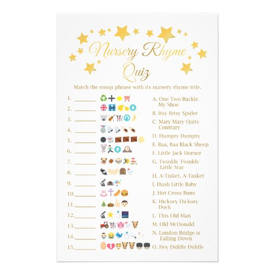 Gold Star Nursery Rhyme Baby Shower Emoji Flyer