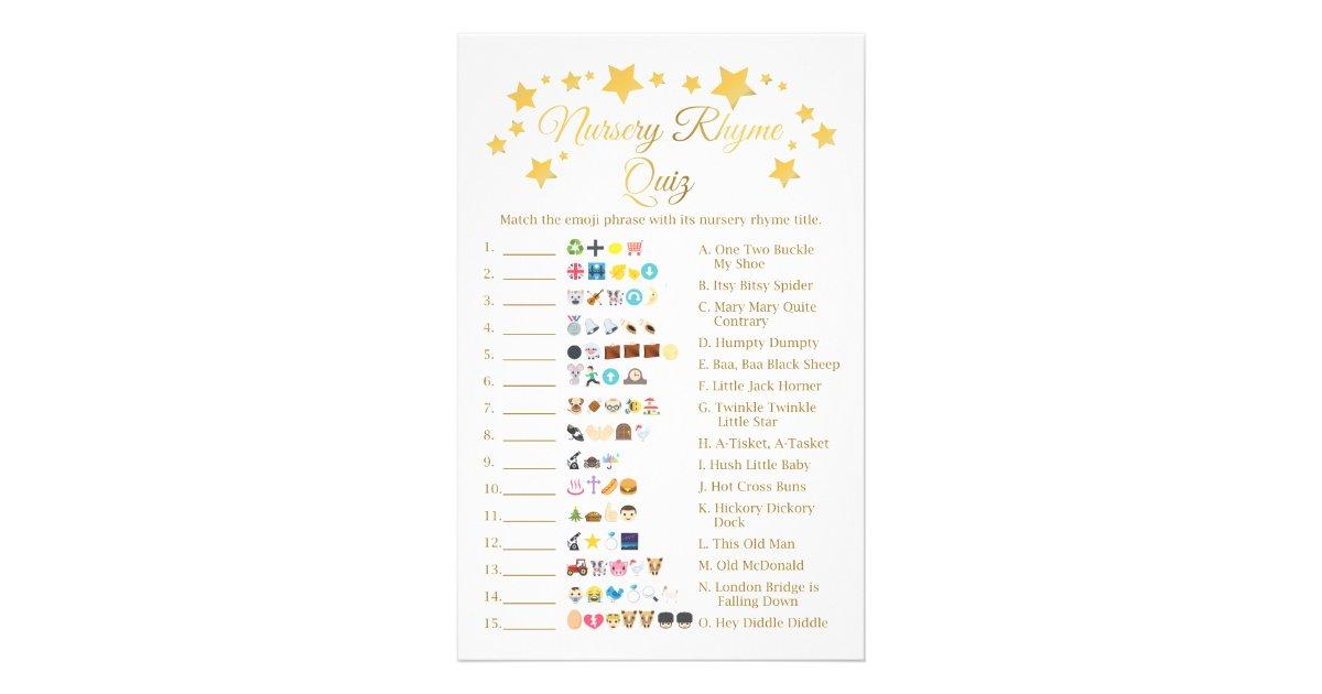 Gold Star Nursery Rhyme Baby Shower Emoji Flyer Zazzle