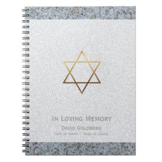 Gold Star of David 2 Funeral Memorial Guest Book