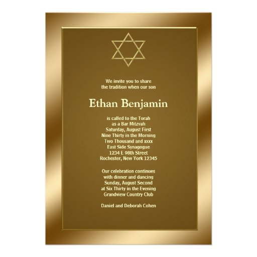 Gold Star of David Bar Mitzvah Invites