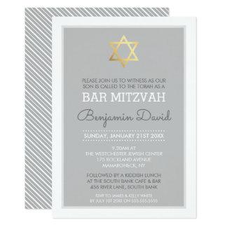 GOLD STAR OF DAVID bar mitzvah modern simple grey Card