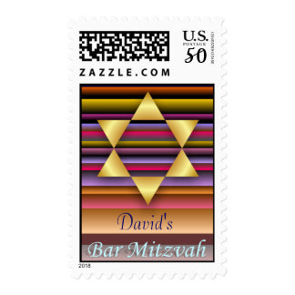Gold Star of David Bar Mitzvah Postage Stamp