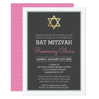 GOLD STAR OF DAVID bat mitzvah modern grey pink Card