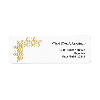 Gold Star of David jewish wedding Return Address Label