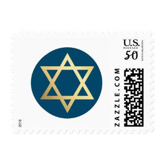 Bar Mitzvah - GOLD STAR OF DAVID modern circle spot dark blue Postage