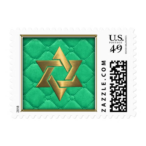 Gold Star of David on Aqua Green Quilted Postage Stamp