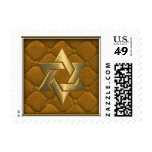Gold Star of David on Gold Quilted Stamp