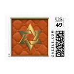 Gold Star of David on Orange Quilted Postage Stamps