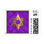 Gold Star of David on Purple Quilted Stamps