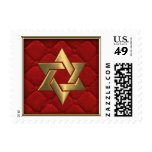 Gold Star of David on Red Quilted Postage Stamp
