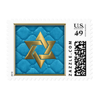 Gold Star of David on Turquoise Blue Quilted Postage