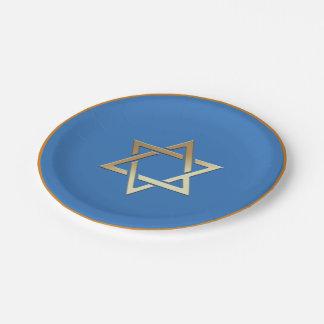 Gold Star of David Paper Plates