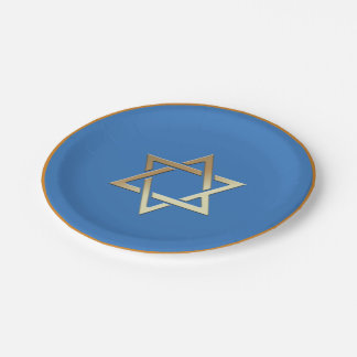 Gold Star of David Paper Plates 7 Inch Paper Plate