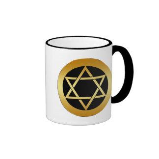 GOLD STAR OF DAVID RINGER MUG