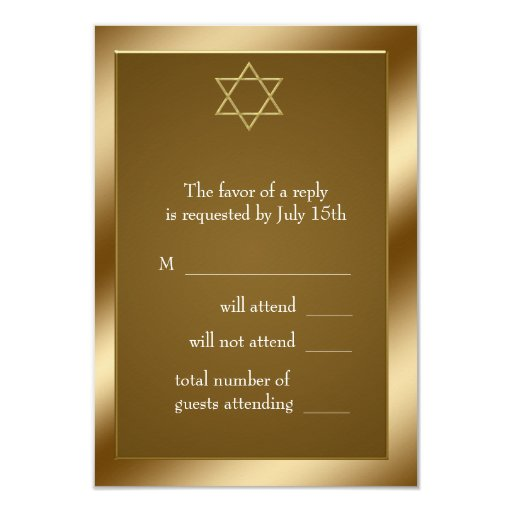 "Gold Star of David RSVP 3.5"" X 5"" Invitation Card"