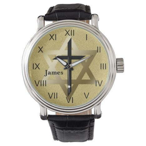 Gold Star of David With Black Cross Watch