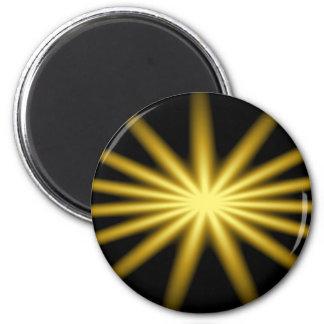 Gold star on black background 2 inch round magnet