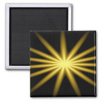 Gold star on black background 2 inch square magnet