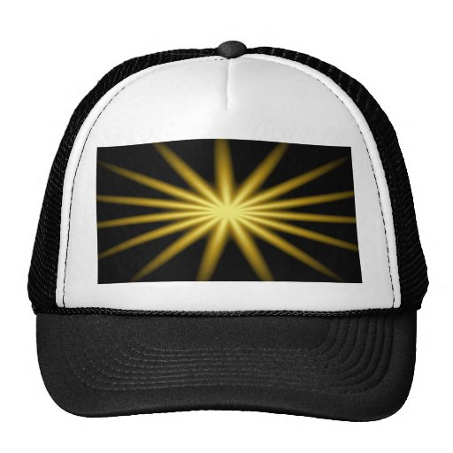 Gold star on black background hats